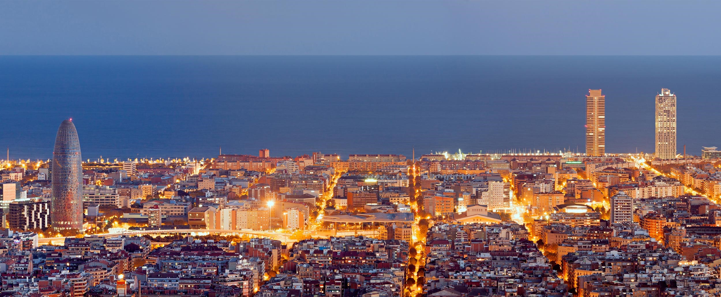 Barcelona with light